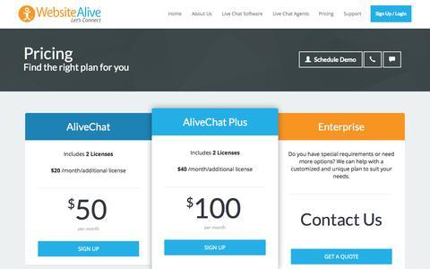 Screenshot of Pricing Page websitealive.com - Live Chat Pricing, Live Chat Trial, Online Chat Software | WebsiteAlive | www.websitealive.com - captured Oct. 2, 2015