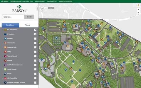 Screenshot of Maps & Directions Page babson.edu - Babson College - captured March 24, 2017