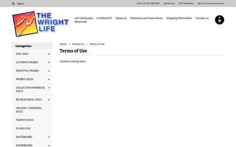 Screenshot of Terms Page wrightlife.com - Terms of Use - captured Oct. 20, 2018