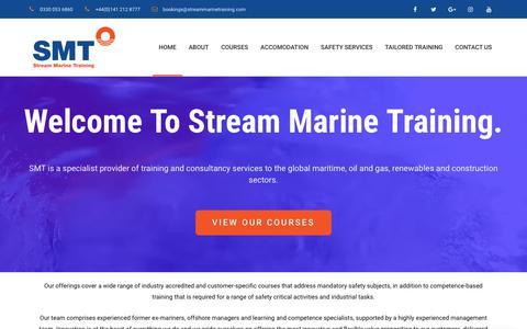 Screenshot of Home Page streammarinetraining.com - STCW, MCA, Marine & Safety Training Courses   Stream Marine Training - captured Sept. 21, 2018