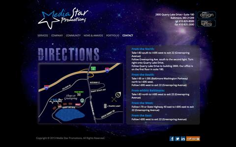 Screenshot of Maps & Directions Page mediastarpromo.com - Media Star Promotions - captured Oct. 27, 2014