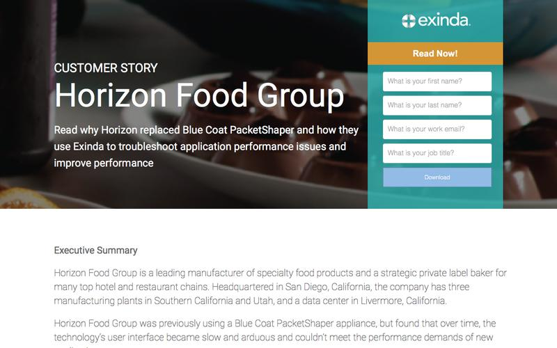 Exinda helps Horizon Food  replace legacy technology