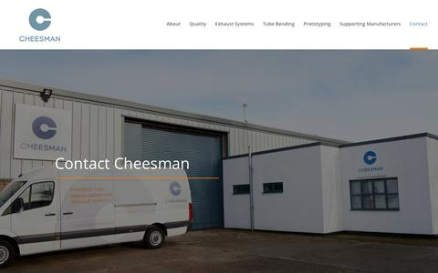Screenshot of Contact Page cheesmanproducts.co.uk - Contact Us Today For All Your Tube Bending Needs   Cheesman - captured Sept. 27, 2018