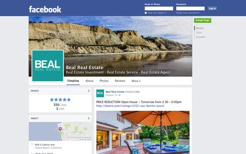 Screenshot of Facebook Page facebook.com - Beal Real Estate - Solana Beach, CA - Real Estate Investment, Real Estate Service | Facebook - captured Oct. 23, 2014