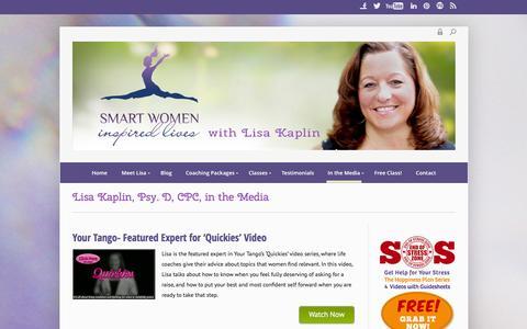 Screenshot of Press Page smartwomeninspiredlives.com - Lisa Kaplin, Psy. D, CPC, in the Media - Smart Women Inspired Lives - captured Sept. 25, 2014