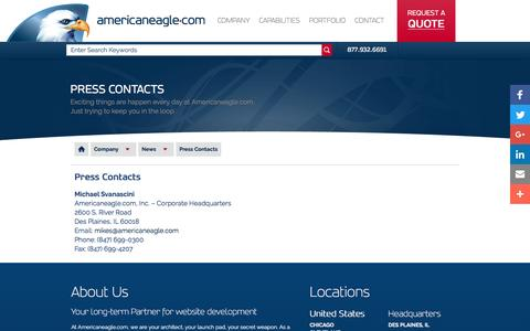 Screenshot of Press Page americaneagle.com - Web Design Press Contacts  | Americaneagle.com - captured Oct. 30, 2016