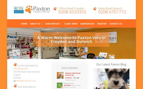 Screenshot of Home Page paxtonvets.co.uk - Vet Croydon and Dulwich South London | Paxton Vets - captured July 19, 2017