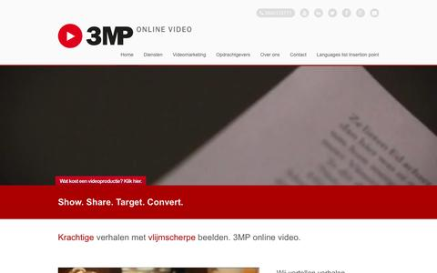 Screenshot of Home Page 3mp.nl - 3MP Online Video - Video producties die werken. - captured Feb. 23, 2016