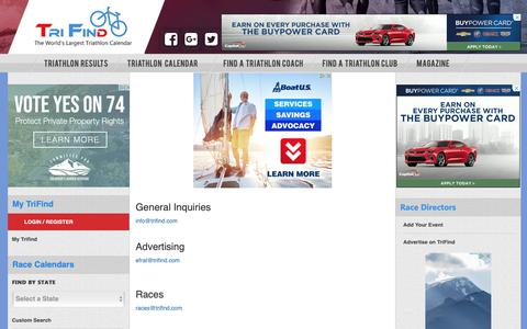 Screenshot of Contact Page trifind.com - Contact Us | Trifind triathlon calendar - captured Oct. 19, 2018