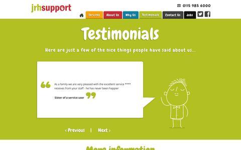Screenshot of Testimonials Page jrhsupport.co.uk - Testimonials - JRH Support - captured Sept. 23, 2014