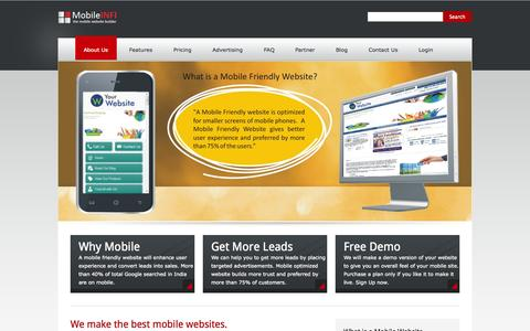 Screenshot of Home Page mobileinfi.com - We create the best mobile website - MobileINFI - captured Oct. 1, 2014