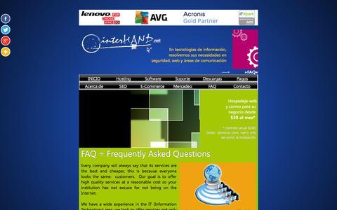 Screenshot of FAQ Page interhand.net captured Aug. 6, 2016