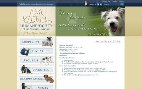 Screenshot of Hours Page hstc1.org - Hours of Operation & Directions | Humane Society of the Treasure Coast, Inc. - captured Oct. 3, 2014