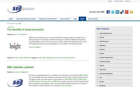 Screenshot of Blog sbeglobalservice.com - SBE Group Blog | SBE Global Service | SBE Global Service - captured Oct. 3, 2014