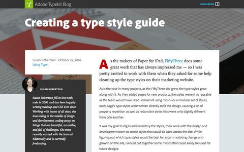 Screenshot of Blog typekit.com - The Typekit Blog | Creating a type style guide - captured Oct. 28, 2014
