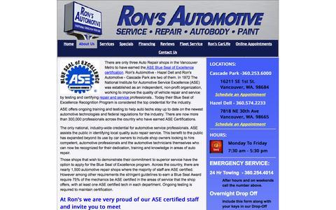 Screenshot of Team Page ronsautomotive.com - ASE Technicians - Ron's AutoBody & Collision - captured Oct. 6, 2014