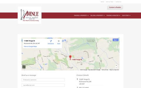Screenshot of Contact Page avenuerealty.com - Contact Us - Avenue Realty Inc. - captured Oct. 4, 2014