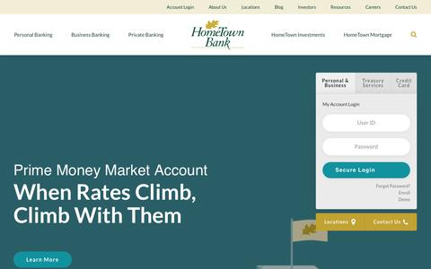 Screenshot of Home Page hometownbank.com - HomeTown Bank | Local Personal & Business Bank in VA - captured July 21, 2018