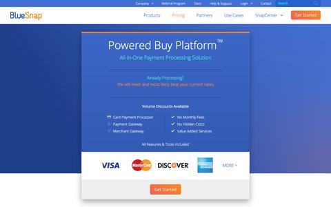 Screenshot of Pricing Page bluesnap.com - BlueSnap Payment Gateway Pricing - captured Nov. 4, 2017