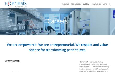 Screenshot of Jobs Page egenesisbio.com - Careers | eGenesis Bio - captured July 24, 2018