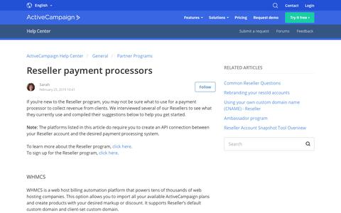 Screenshot of Support Page activecampaign.com - Reseller payment processors – ActiveCampaign Help Center - captured June 18, 2019