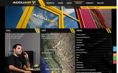 Screenshot of Contact Page accuair.com - Contact - AccuAir Suspension - captured Sept. 25, 2014