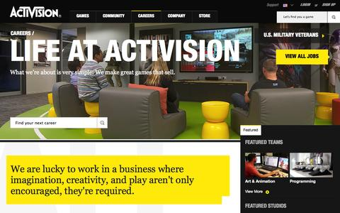 Screenshot of Jobs Page activision.com - Life At Activision - captured Sept. 22, 2014
