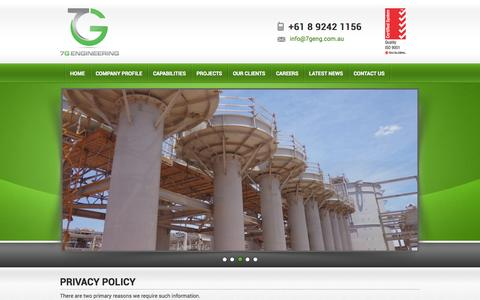 Screenshot of Privacy Page 7geng.com.au - Privacy Policy   7G Engineering - captured Oct. 7, 2014