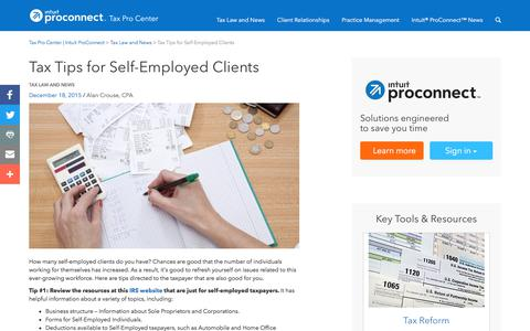 Screenshot of Press Page intuit.com - Tax Tips for Self-Employed Clients | Tax Pro Center | Intuit ProConnect - captured Nov. 21, 2019