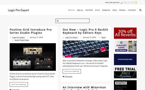 Screenshot of Home Page logic-pro-expert.com - - Logic Pro tips & tricks, news, and reviews. - captured Jan. 15, 2016