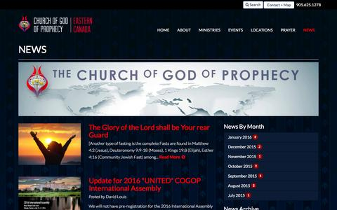 Screenshot of Press Page cogop.ca - News | Church of God of Prophecy - Eastern Canada - captured Jan. 28, 2016