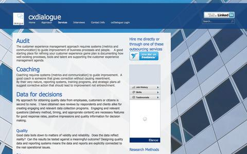 Screenshot of Services Page cxdialogue.com - Contacted by us? - captured Oct. 29, 2014