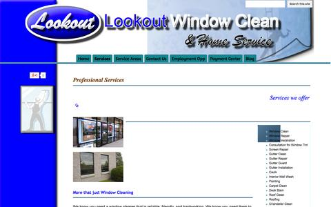 Screenshot of Services Page lookoutwindowcleanandhomeservice.com - Services - Lookout Window Clean & Home Service - captured Oct. 3, 2014
