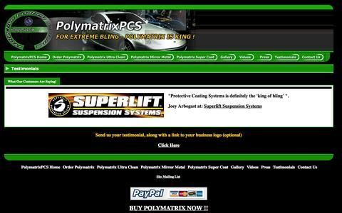 Screenshot of Testimonials Page protectivecoatingsystems.com - PolymatrixPCS - World's Most Advanced Car Care Products - Testimonials - captured Sept. 30, 2014