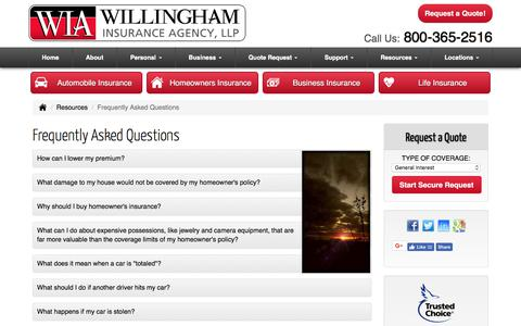 Screenshot of FAQ Page willinghamagency.com - Frequently Asked Questions - Ballinger Texas - Willingham Insurance Agency - captured Oct. 27, 2017