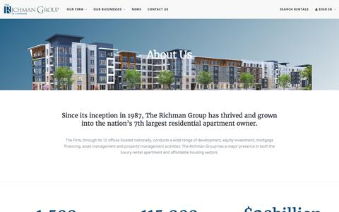 Screenshot of About Page therichmangroup.com - About Us   The Richman Group - captured Aug. 14, 2016