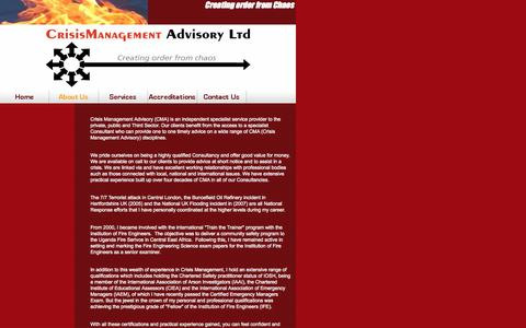 Screenshot of About Page crisis-management-advisory.com - About Us - Crisis Management Advisory - captured Oct. 27, 2014