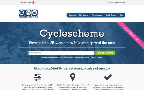 Screenshot of Home Page cyclescheme.co.uk - Tax free bikes for work through the Government's Green Transport Initiative - Cyclescheme, provider of Cycle to Work schemes for UK employers - Cyclescheme - captured July 25, 2015