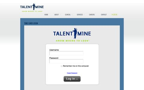 Screenshot of Login Page talentmine.net - Time Card Login | Talent MineTalent Mine - captured Sept. 30, 2014