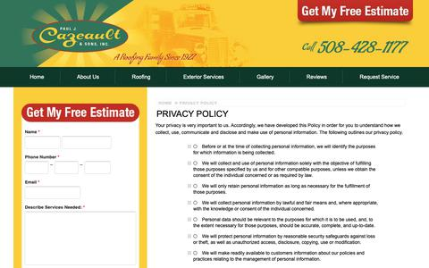 Screenshot of Privacy Page cazeault.com - Privacy Policy | Cazeault Roofing & Solar - captured Sept. 27, 2018
