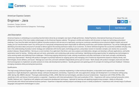 Screenshot of Jobs Page americanexpress.com - Apply For American Express Engineer - Java job - Digital Commerce, Technology - Tempe, Arizona - captured Dec. 12, 2016