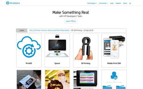 Screenshot of Developers Page hp.com - HP Developer Portal | Home - captured Sept. 23, 2016