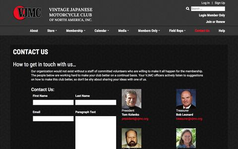 Screenshot of Contact Page vjmc.org - CONTACT US - Vintage Japanese Motorcycle Club of North America - captured Oct. 21, 2017