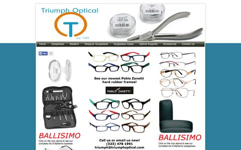 Screenshot of Home Page triumphoptical.com - Welcome to Triumph Optical - Quality Eyewear & Optical Accessories - captured Oct. 9, 2014
