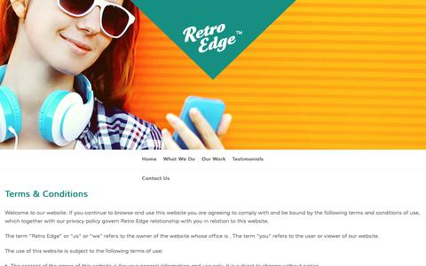 Screenshot of Terms Page retroedgewebdesign.co.uk - Terms & Conditions - Retro Edge - captured Jan. 11, 2016