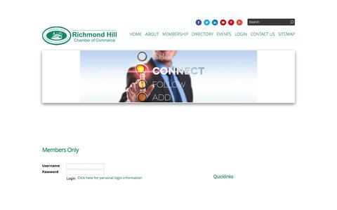 Screenshot of Login Page rhcoc.com - Members Only |  | Richmond Hill Chamber of Commerce | Richmond Hill, ON - captured Nov. 30, 2016