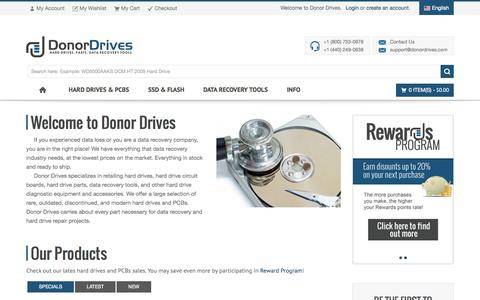 Screenshot of Home Page donordrives.com - Donor Drives LLC - Buy Hard Drives, PCBs, HDD Parts & Data Recovery Tools - Donor Drives - captured Sept. 23, 2014
