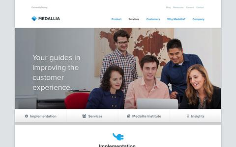 Screenshot of Services Page medallia.com - Services. | Medallia - captured Sept. 16, 2014