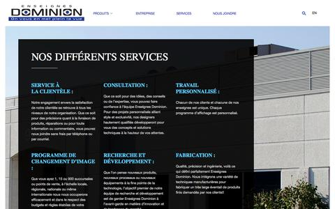 Screenshot of Services Page enseignesdominion.ca - Enseignes DominionServices | Enseignes Dominion - captured Oct. 3, 2014