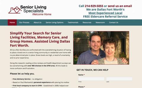 Screenshot of Home Page seniorlivingspecialists.com - Assisted Living Dallas, Plano Senior Living Facilities - Senior Care - captured Nov. 12, 2017